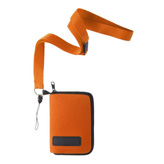 Orange Mobilfodral med band Poolermed tryck